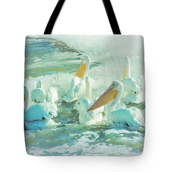 Pelicans On The Tide Tote Bag