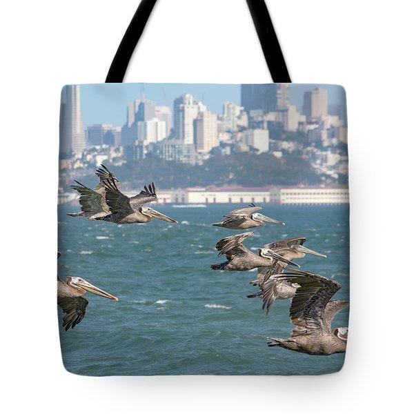 Pelicans Over San Francisco Bay Tote Bag
