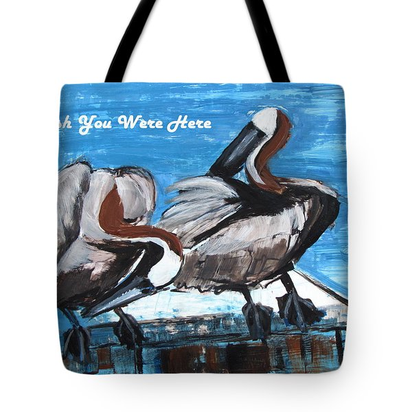 Pelicans Up Close And Personal Tote Bag by Betty Pieper