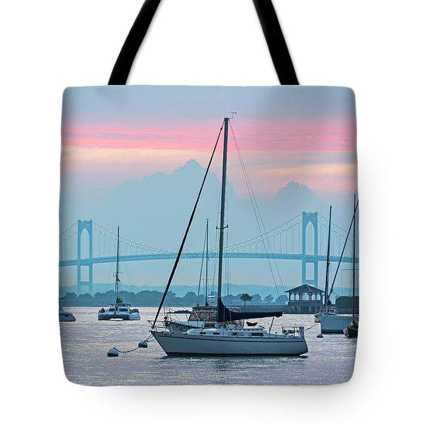 Pell Bridge Newport Harbor Newport Ri Rhode Island Purple Sunset Tote Bag