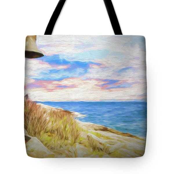 Pemaquid Lighthouse Bell On Maine Rocky Coast. Tote Bag