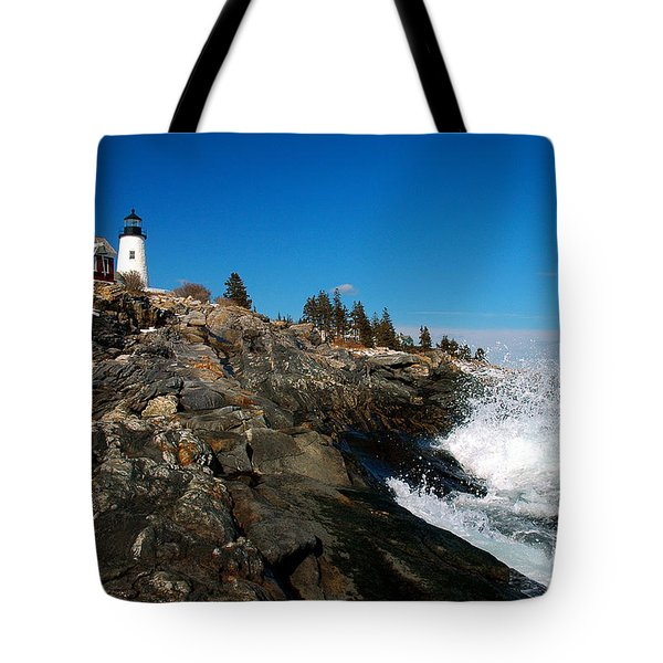 Pemaquid Point Lighthouse - Seascape Landscape Rocky Coast Maine Tote Bag by Jon Holiday