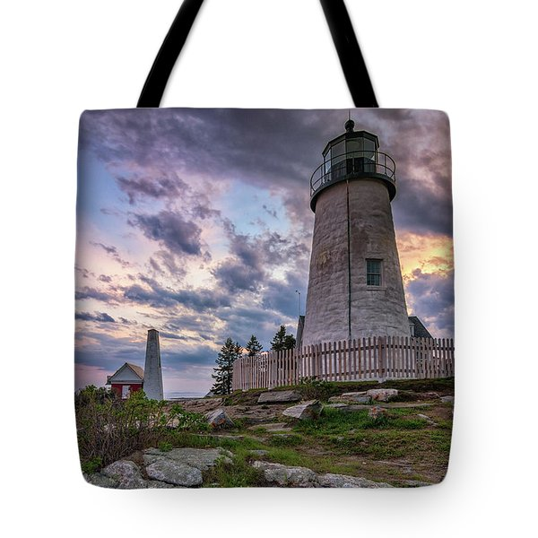 Pemaquid Point Lighthouse At Sundown Tote Bag