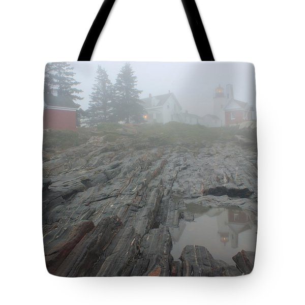Pemaquid Point Lighthouse Foggy Morning Tote Bag