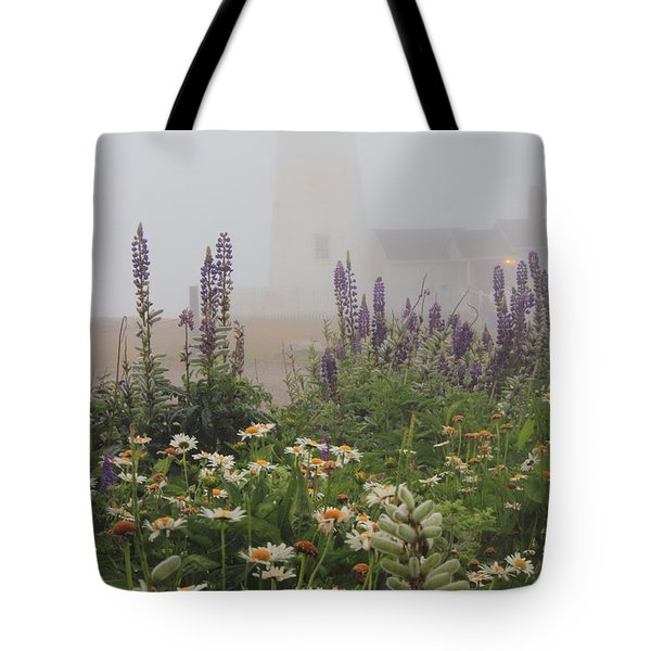 Pemaquid Point Lighthouse Lupines And Flowers In Fog Tote Bag