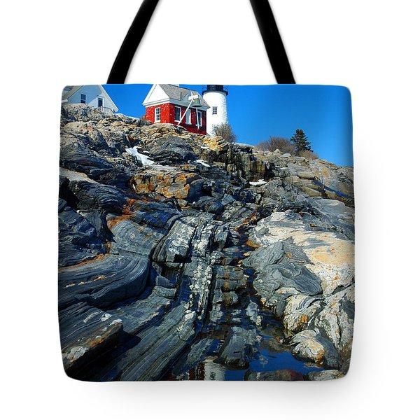 Pemaquid Point Lighthouse Reflection - Seascape Landscape Rocky Coast Maine Tote Bag by Jon Holiday