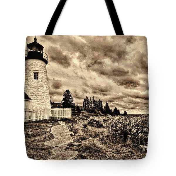 Pemaquid Point Lighthouse Stormy Autumn Day Sepia Antique Distressed Tote Bag