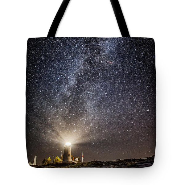 Tote Bag featuring the photograph Pemaquid Point Milky Way by Robert Clifford