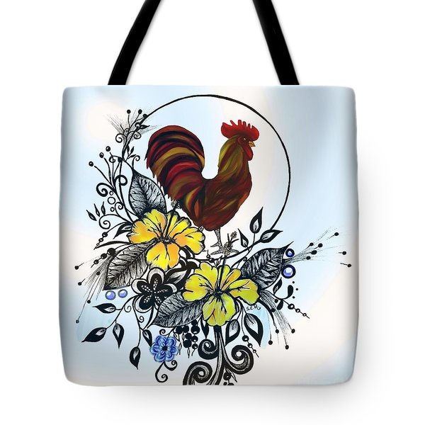 Tote Bag featuring the drawing Pen And Ink Drawing Rooster Art Watercolor And Digital Art by Saribelle Rodriguez