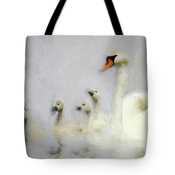 Pen And Her Cygnets Tote Bag