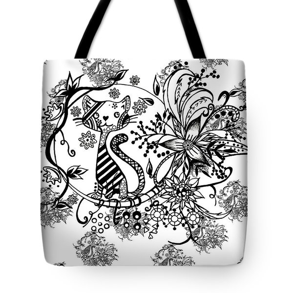 Tote Bag featuring the drawing Pen And Ink Cat Pattern Black And White by Saribelle Rodriguez