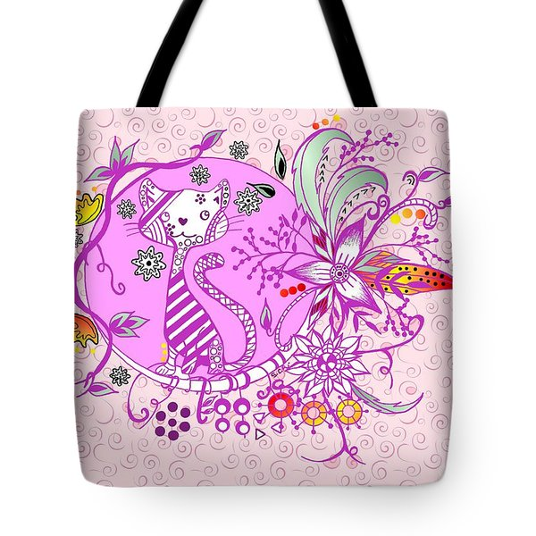 Pen And Ink Colorful Cat Drawing Tote Bag by Saribelle Rodriguez