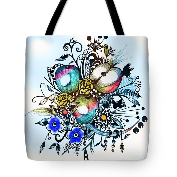 Pen And Ink Drawing, Colorful Apples, Watercolor And Digital Painting Tote Bag