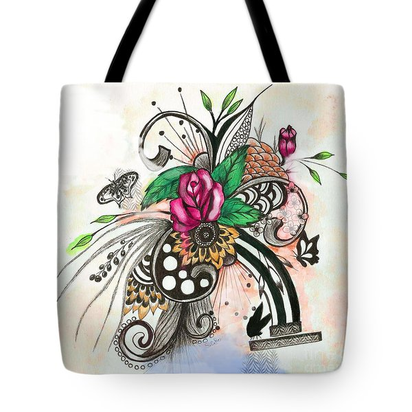 Tote Bag featuring the drawing Pen And Ink Drawing Rose Colorful  Art by Saribelle Rodriguez