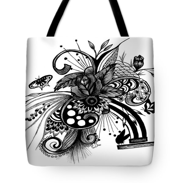 Tote Bag featuring the drawing Pen And Ink Drawing Rose by Saribelle Rodriguez