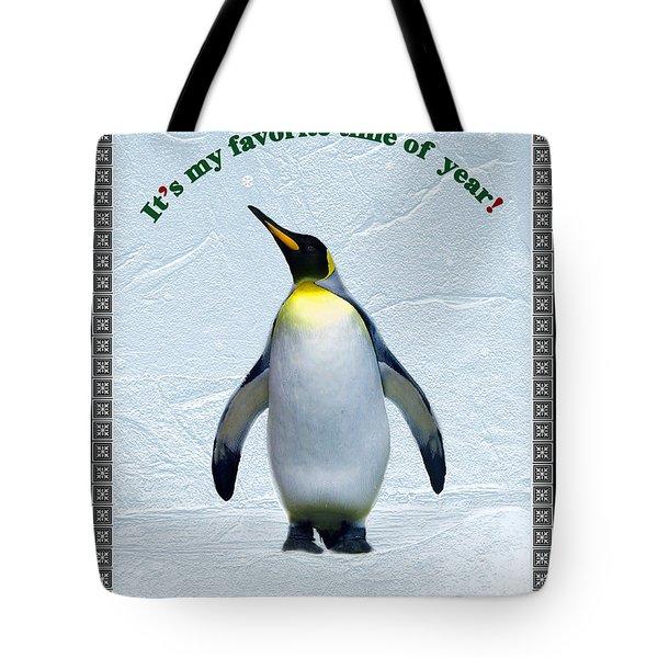Penguin Christmas Tote Bag by Steve Karol