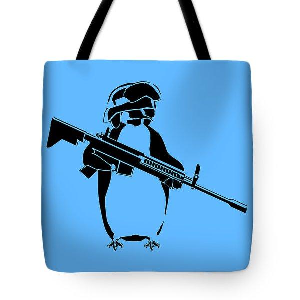 Penguin Soldier Tote Bag by Pixel Chimp