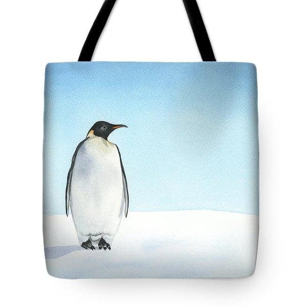 Tote Bag featuring the painting Penguin Watercolor by Taylan Apukovska