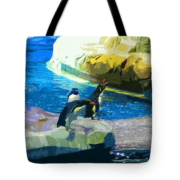 Penguins At The Zoo Tote Bag