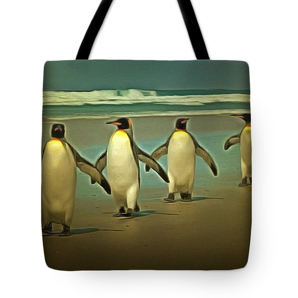 Penguins In The Beach Tote Bag