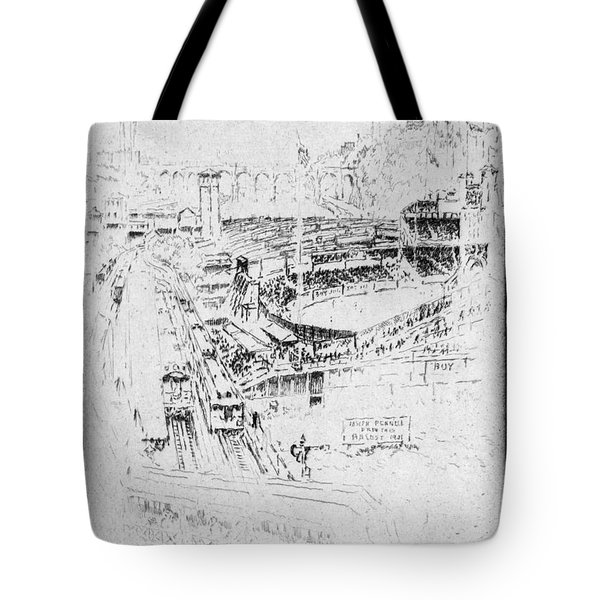 Tote Bag featuring the drawing Pennell Polo Grounds 1921 by Granger