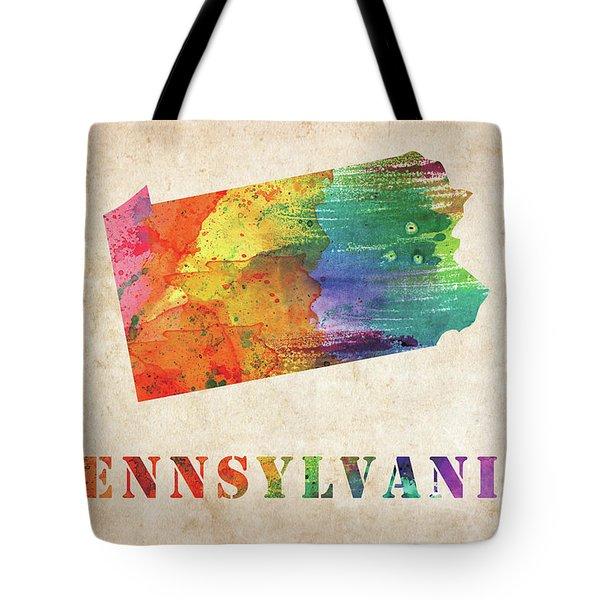 Pennsylvania Colorful Watercolor Map Tote Bag