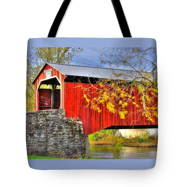 Pennsylvania Country Roads - Dellville Covered Bridge Over Sherman Creek No. 13 - Perry County Tote Bag