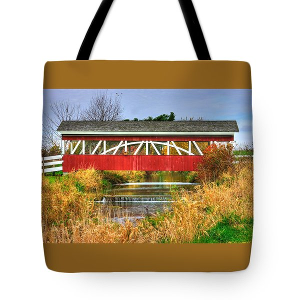 Pennsylvania Country Roads - Oregon Dairy Covered Bridge Over Shirks Run - Lancaster County Tote Bag