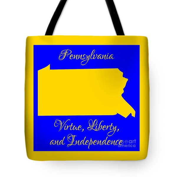 Pennsylvania Map In State Colors Blue And Gold With State Motto Virtue Liberty And Independence Tote Bag by Rose Santuci-Sofranko