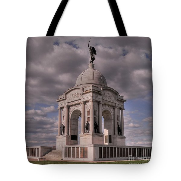 Pennsylvania Memorial At Gettysburg Tote Bag by David Bearden