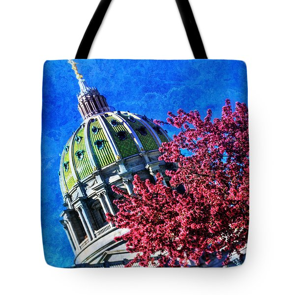 Tote Bag featuring the photograph Pennsylvania State Capitol Dome In Bloom by Shelley Neff