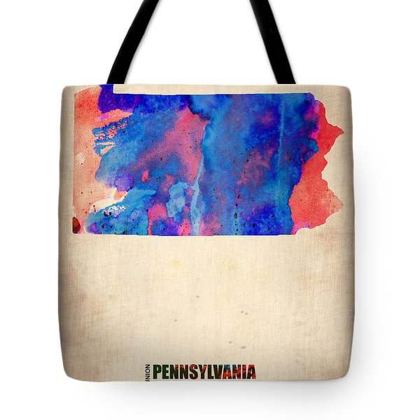 Pennsylvania Watercolor Map Tote Bag by Naxart Studio