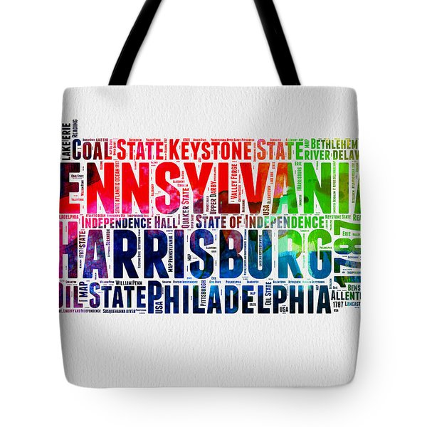 Pennsylvania Watercolor Word Cloud Map  Tote Bag