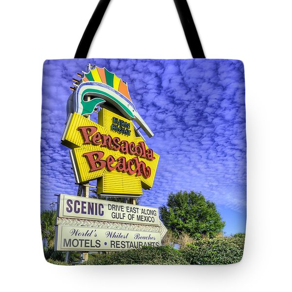 Tote Bag featuring the photograph Pensacola Beach Sign by JC Findley
