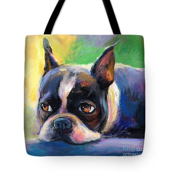Pensive Boston Terrier Dog Painting Tote Bag
