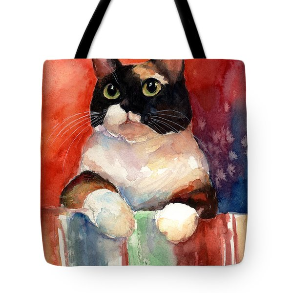 Pensive Calico Tubby Cat Watercolor Painting Tote Bag