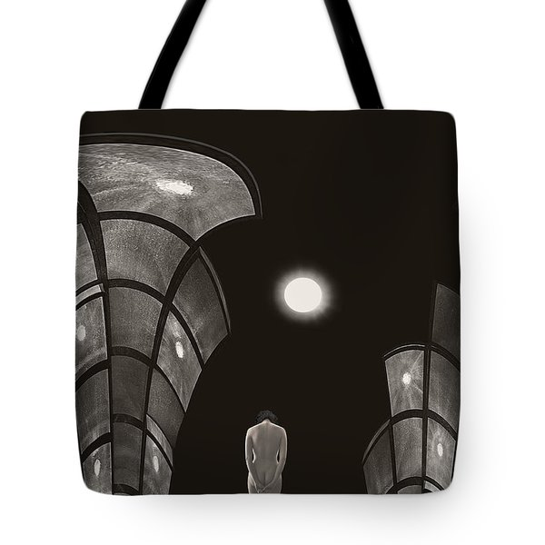 Tote Bag featuring the photograph Pensive Nude In A Surreal World by Joe Bonita