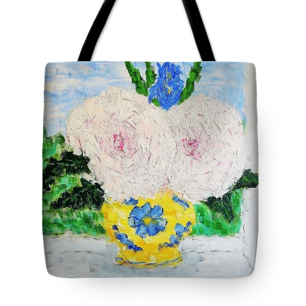Peonies And Iris On The Window. Tote Bag