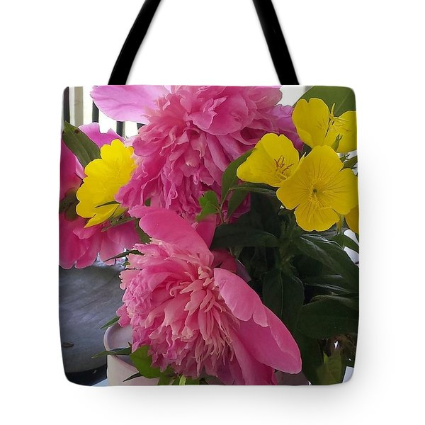 Tote Bag featuring the photograph Peonies And Primroses by Deb Martin-Webster