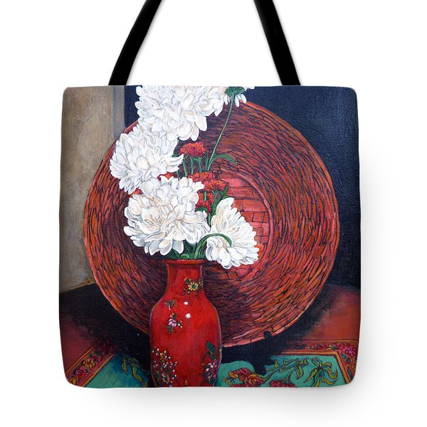 Tote Bag featuring the painting Peonies For Nana by Tom Roderick