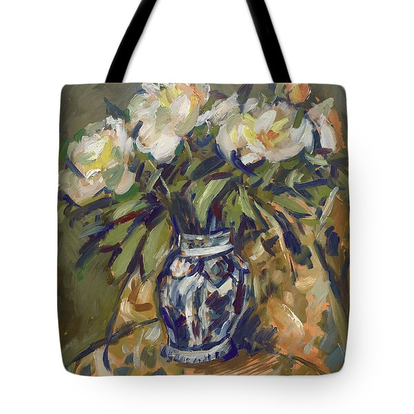 Peonies In Delft Blue Vase On Quilt Tote Bag