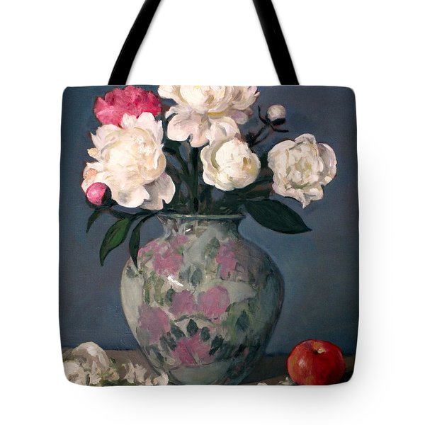 Peonies In Floral Vase With Red Apple Tote Bag