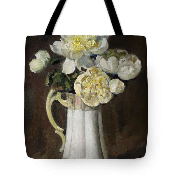 Peonies In Fluted Japanese Coffeepot Tote Bag