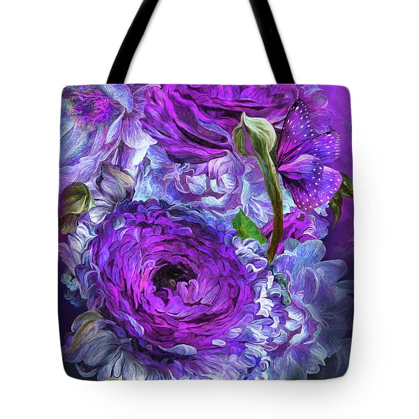 Tote Bag featuring the mixed media Peonies In Lavenders by Carol Cavalaris