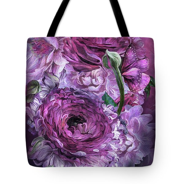 Tote Bag featuring the mixed media Peonies In Mauves by Carol Cavalaris