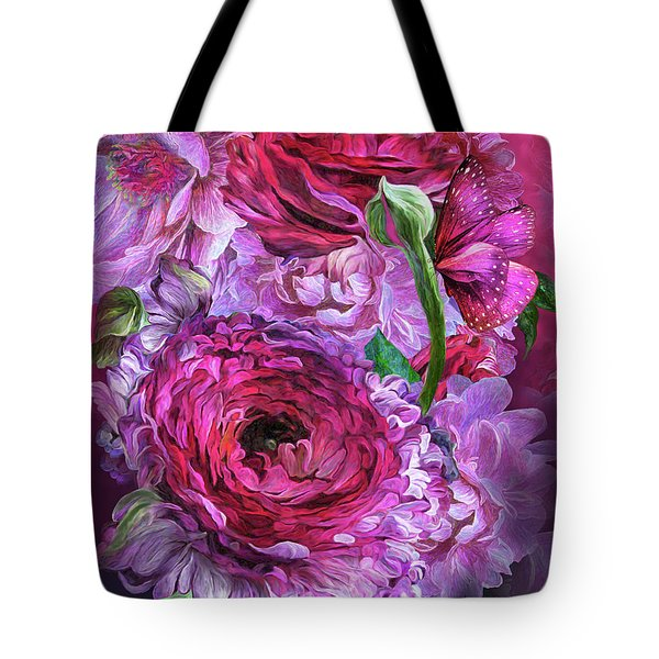 Tote Bag featuring the mixed media Peonies In Pinks by Carol Cavalaris