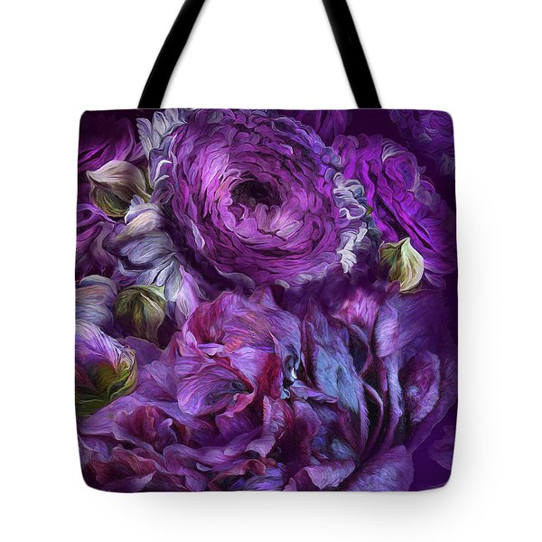 Tote Bag featuring the mixed media Peonies In Purples  2 by Carol Cavalaris