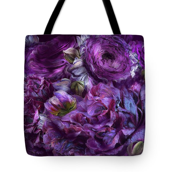 Tote Bag featuring the mixed media Peonies In Purples by Carol Cavalaris