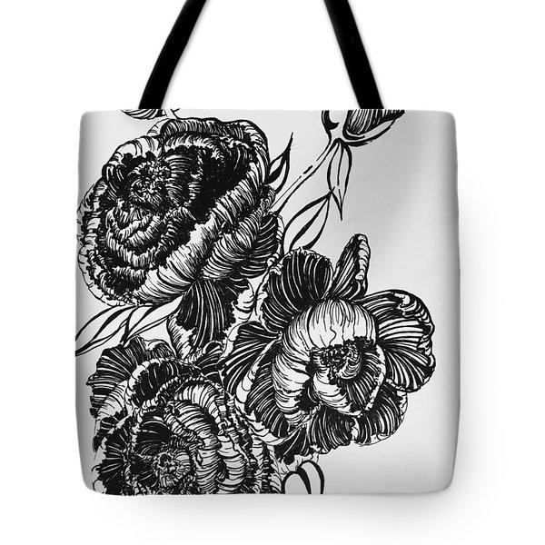 Peonies Line Drawing Tote Bag