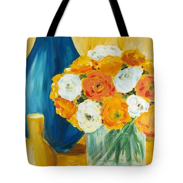 Tote Bag featuring the painting Peonies by Maria Langgle
